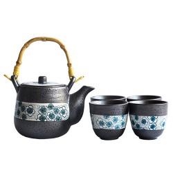 Japanese Tea Set With 4 Tea Cups (Blue dye)