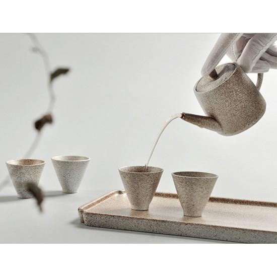 Japanese Style Ceramic Kungfu Tea Set with Tea Tray