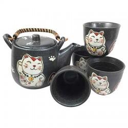 Lucky Cat Black Japanese Teapot Set With 4 Tea Cups